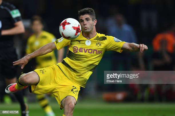 Christian Pulisic of Borussia Dortmund in action during the DFB Cup Final match between Eintracht Frankfurt and Borussia Dortmund at Olympiastadion...
