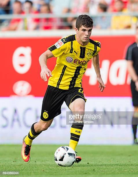 Christian Pulisic of Borussia Dortmund in action during the friendly match between Hallescher FC and Borussia Dortmund at ErdgasSportpark on August...