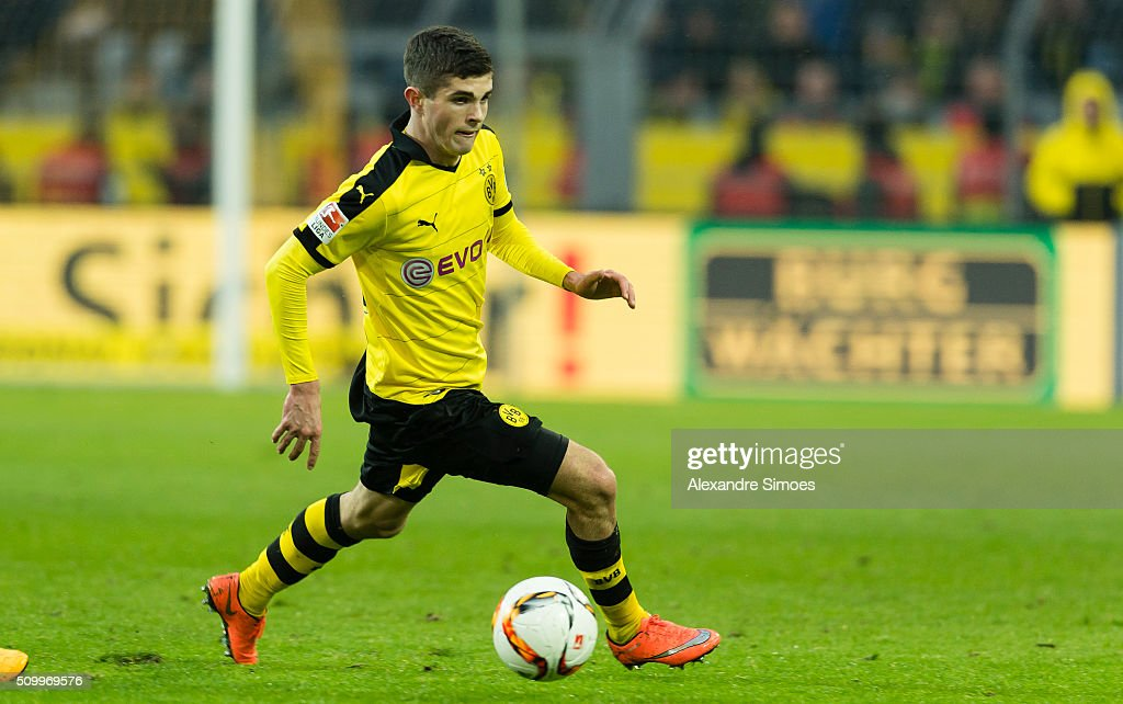 Christian Pulisic of Borussia Dortmund in action during the Bundesliga match between Borussia Dortmund and Hannover 96 at Signal Iduna Park on February 13, 2016 in Dortmund, Germany.