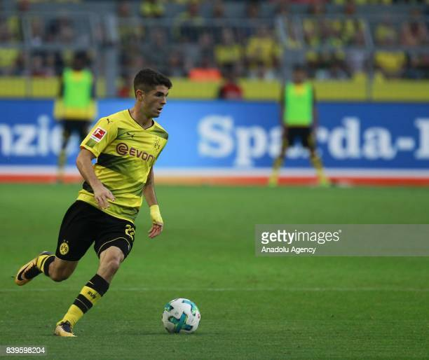 Christian Pulisic of Borussia Dortmund in action during the Bundesliga soccer match between Borussia Dortmund and Hertha BSC Berlin at the Signal...