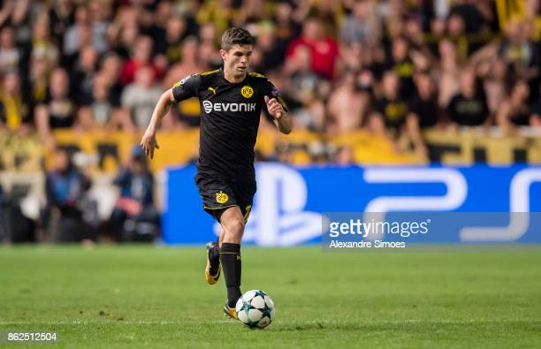 Christian Pulisic of Borussia Dortmund in action during the UEFA Champions League group H match between APOEL Nikosia and Borussia Dortmund at GSP...