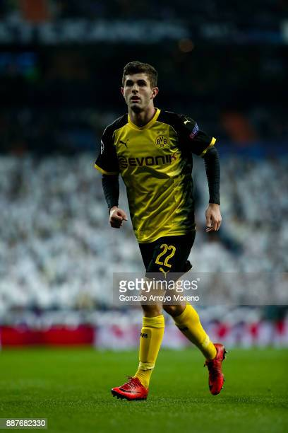 Christian Pulisic of Borussia Dortmund in action during the UEFA Champions League group H match between Real Madrid and Borussia Dortmund at Estadio...