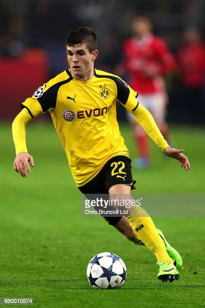 Christian Pulisic of Borussia Dortmund in action during the UEFA Champions League Round of 16 second leg match between Borussia Dortmund and SL...