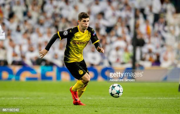 Christian Pulisic of Borussia Dortmund in action during the UEFA Champions League match between Real Madrid and Borussia Dortmund at Estadio Santiago...