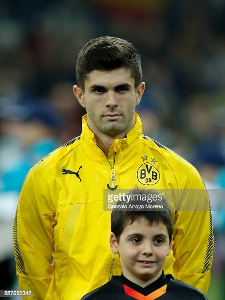 Christian Pulisic of Borussia Dortmund stands prior to start the UEFA Champions League group H match between Real Madrid and Borussia Dortmund at...