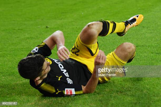 Christian Pulisic of Dortmund celebrates after he scored his teams third goal to make it 30 during the Bundesliga match between Hamburger SV and...
