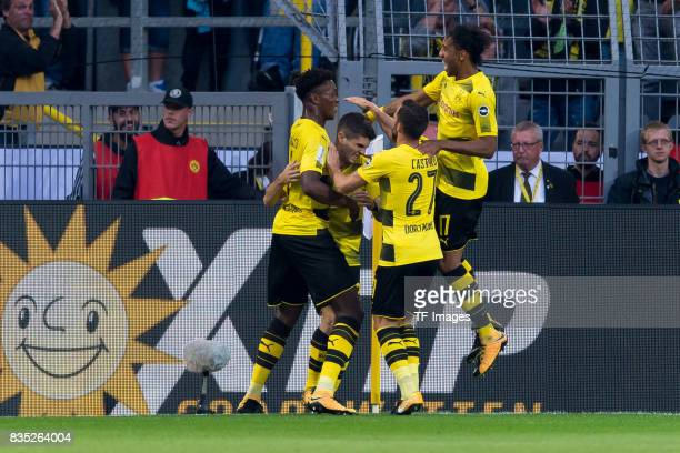 Christian Pulisic of Dortmund celebrates after scoring his team`s first goal during the DFL Supercup 2017 match between Borussia Dortmund and Bayern...