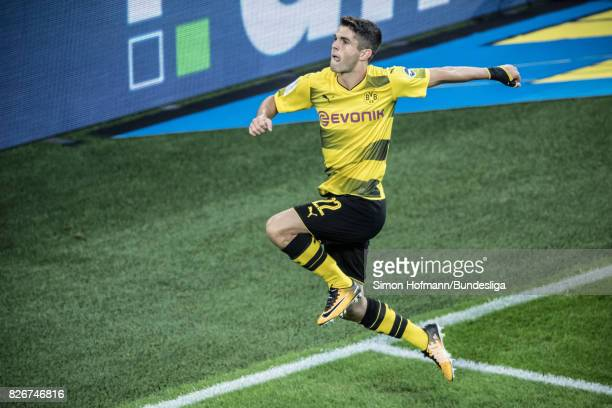 Christian Pulisic of Dortmund celebrates his team's first goal during the DFL Supercup 2017 match between Borussia Dortmund and Bayern Muenchen at...