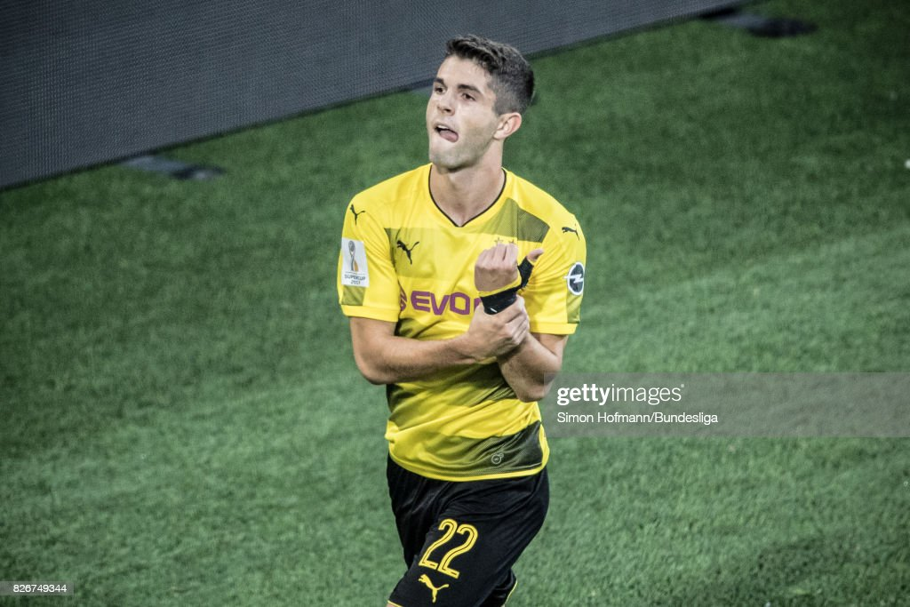 Christian Pulisic of Dortmund celebrates his team's first goal during the DFL Supercup 2017 match between Borussia Dortmund and Bayern Muenchen at Signal Iduna Park on August 5, 2017 in Dortmund, Germany.