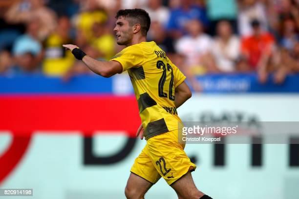 Christian Pulisic of Dortmund celebrates the second goal during the preseason friendly match between VfL Bochum and Borussia Dortmund at Vonovia...