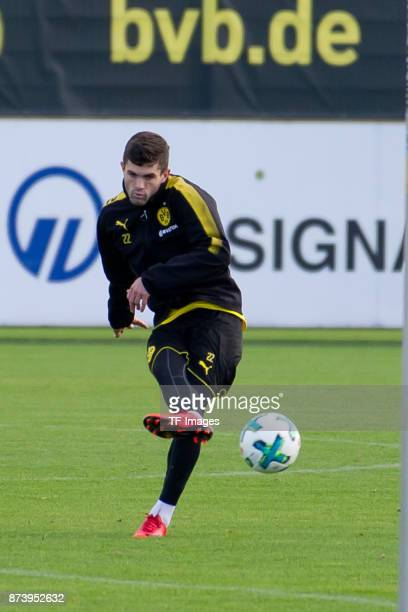 Christian Pulisic of Dortmund controls the ball during a training session at BVB trainings center on November 5 2017 in Dortmund