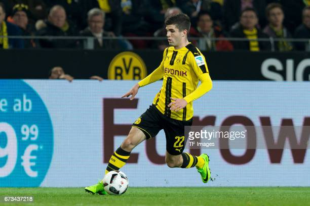Christian Pulisic of Dortmund controls the ball during the Bundesliga match between Borussia Dortmund and Hamburger SV at Signal Iduna Park on April...
