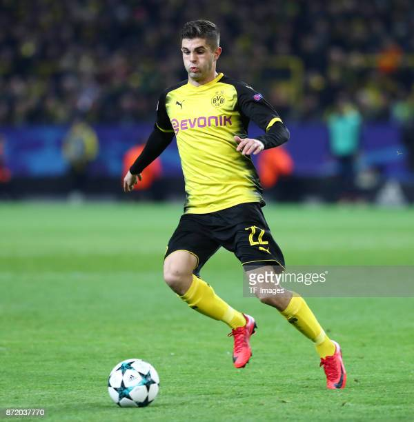 Christian Pulisic of Dortmund controls the ball during the UEFA Champions League Group H soccer match between Borussia Dortmund and APOEL Nicosia at...