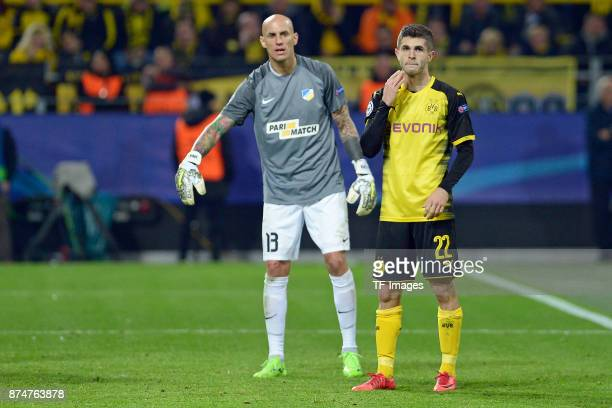 Christian Pulisic of Dortmund gestures during the UEFA Champions League Group H soccer match between Borussia Dortmund and APOEL Nicosia at...