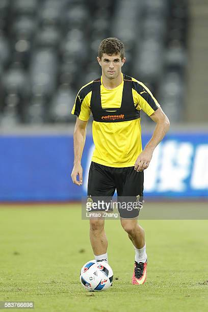 Christian Pulisic of Dortmund in action during team training session for 2016 International Champions Cup match between Manchester City and Borussia...