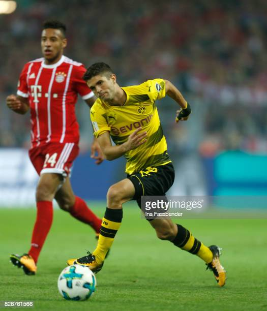 Christian Pulisic of Dortmund plays the ball during the DFL Supercup 2017 match between Borussia Dortmund and Bayern Muenchen at Signal Iduna Park on...