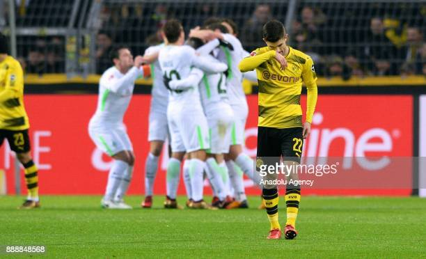 Christian Pulisic of Dortmund reacts after Werder Bremen scored a goal during Bundesliga soccer match between Borussia Dortmund and Werder Bremen at...