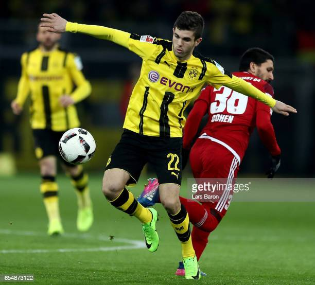 Christian Pulisic of Dortmund runs with the ball during the Bundesliga match between Borussia Dortmund and FC Ingolstadt 04 at Signal Iduna Park on...