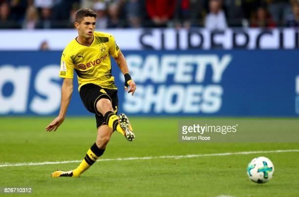 Christian Pulisic of Dortmund scores the opening goal during the DFL Supercup 2017 match between Borussia Dortmund and Bayern Muenchen at Signal...