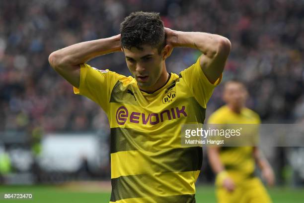Christian Pulisic of Dortmund shows his disappointment during the Bundesliga match between Eintracht Frankfurt and Borussia Dortmund at...