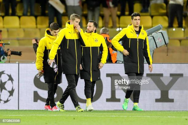 Christian Pulisic of Dortmund Sven Bender of Dortmund Gonzalo Castro of Dortmund Mikel Merino of Dortmund looks on prior the UEFA Champions League...