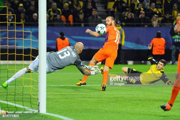 Christian Pulisic of Dortmund tries to score a goal during the UEFA Champions League Group H soccer match between Borussia Dortmund and APOEL Nicosia...
