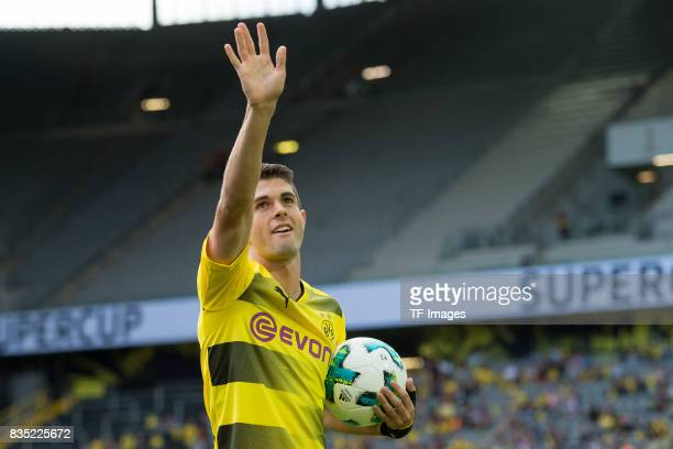 Christian Pulisic of Dortmund welcomes the fans during the Borussia Dortmund Season Opening 2017/18 at Signal Iduna Park on August 4 2017 in Dortmund...