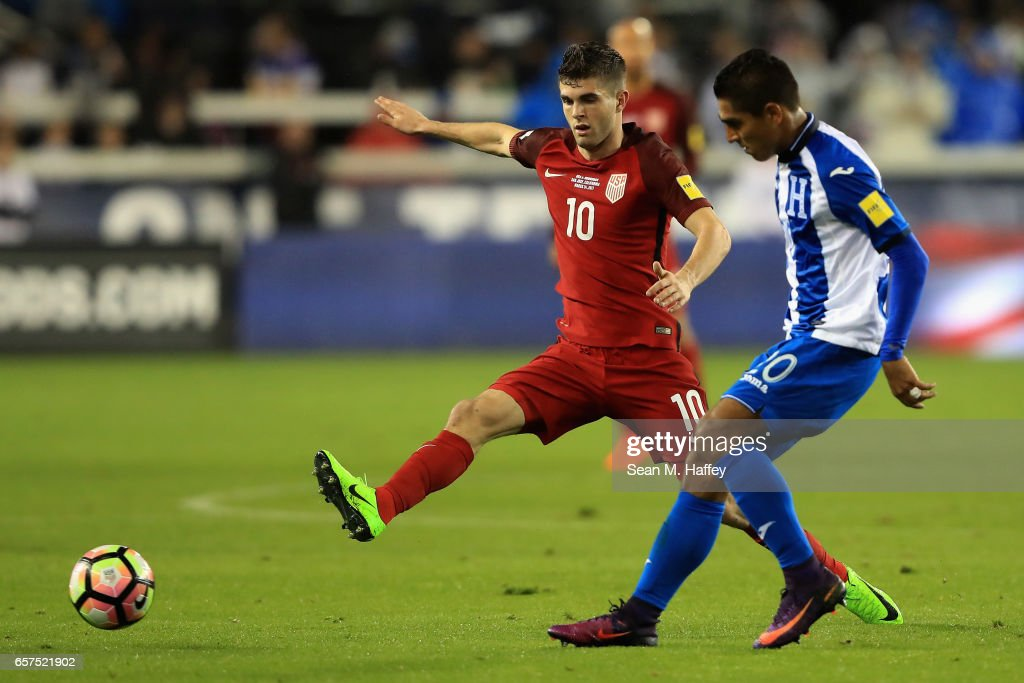 Christian Pulisic #10 of the United States defends against Jorge Claros #20 of Honduras during their FIFA 2018 World Cup Qualifier at Avaya Stadium on March 24, 2017 in San Jose, California.