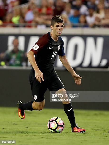 Christian Pulisic of the United States looks to pass during the FIFA 2018 World Cup Qualifier against Trinidad Tabago at EverBank Field on September...