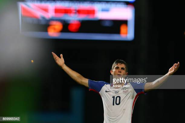 Christian Pulisic of the United States mens national team reacts to the referee's call during the FIFA World Cup Qualifier match between Trinidad and...