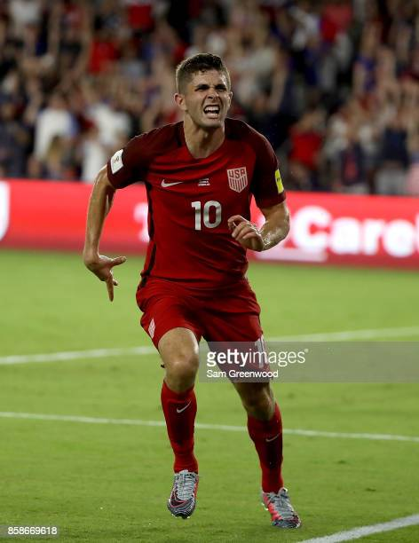 Christian Pulisic of the United States reacts after scoring a goal during the final round qualifying match against Panama for the 2018 FIFA World Cup...