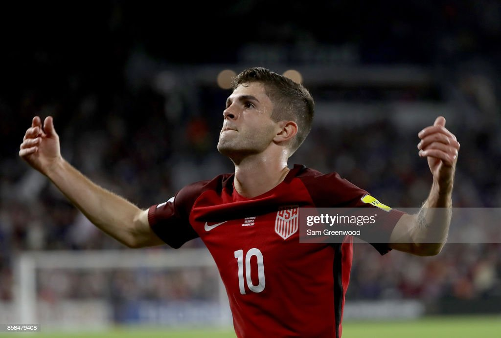 Christian Pulisic #10 of the United States reacts to a goal during the final round qualifying match against Panama for the 2018 FIFA World Cup at Orlando City Stadium on October 6, 2017 in Orlando, Florida.