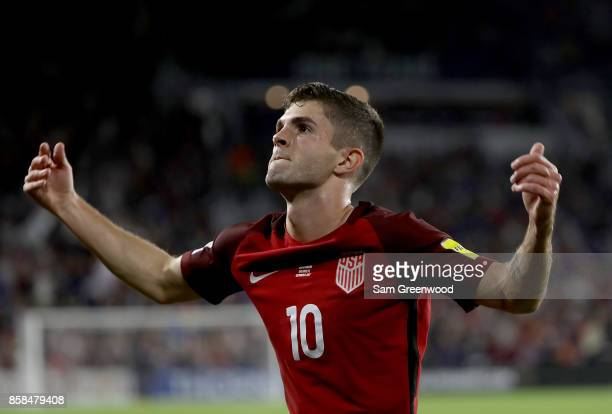 Christian Pulisic of the United States reacts to a goal during the final round qualifying match against Panama for the 2018 FIFA World Cup at Orlando...