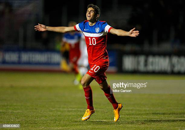 Christian Pulisic of the United States scores against England during the Nike International Friendlies at The Premier Sports Campus at Lakewood Ranch...
