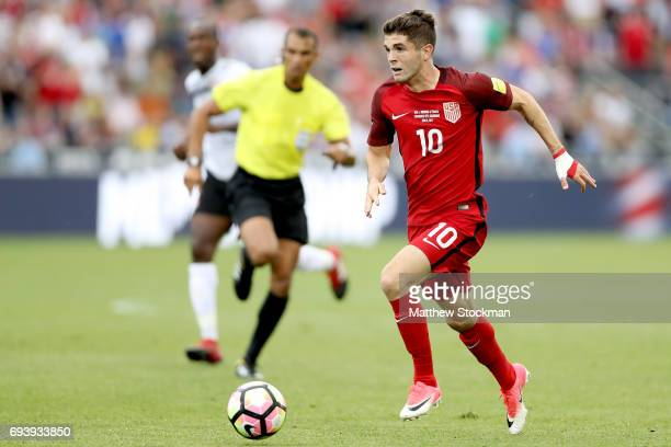 Christian Pulisic of the US National Team advances the ball against Trinidad Tabago in the first half during the FIFA 2018 World Cup Qualifier at...