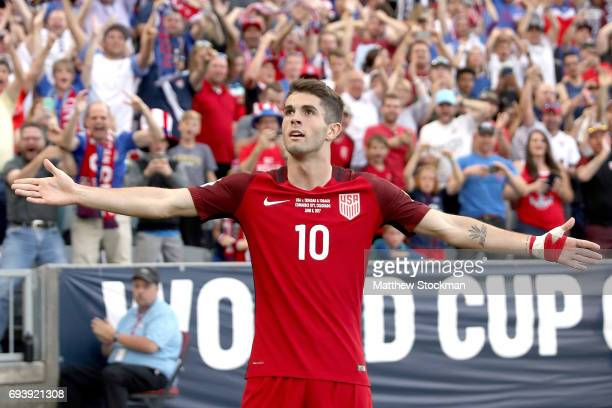 Christian Pulisic of the US National Team celebrates scoring a goal against Trinidad Tabago in the second half during the FIFA 2018 World Cup...