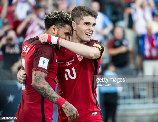 Christian Pulisic of United States celebrates his first goal with DeAndre Yedlin of United States during the World Cup Qualifier match between the...
