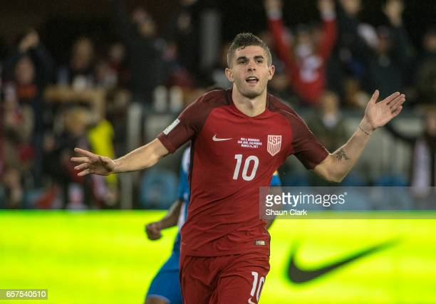 Christian Pulisic of United States celebrates his goal during the World Cup Qualifier match between the United States and Honduras at Avaya Stadium...