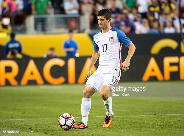 Christian Pulisic of United States during the Copa America Centenario Group A match between the United States and Columbia at Levi's Stadium on June...