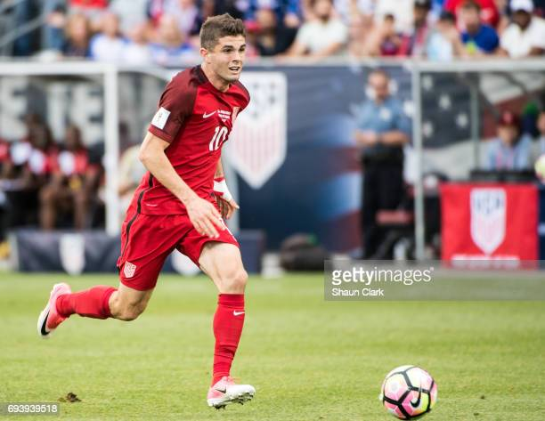 Christian Pulisic of United States races toward goal during the World Cup Qualifier match between the United States and Trinidad Tobago at Dick's...