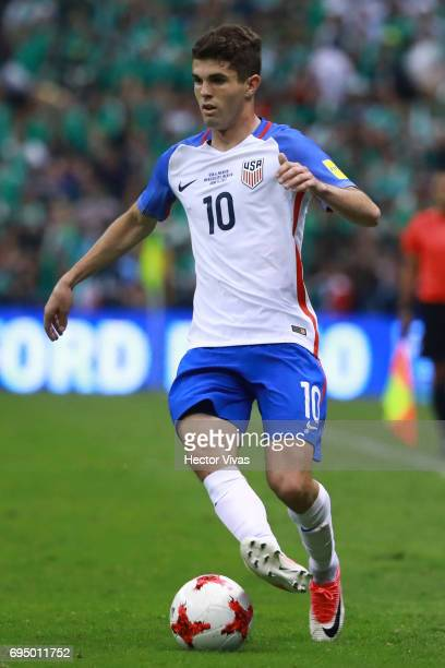 Christian Pulisic of US drives the ball during the match between Mexico and The United States as part of the FIFA 2018 World Cup Qualifiers at Azteca...