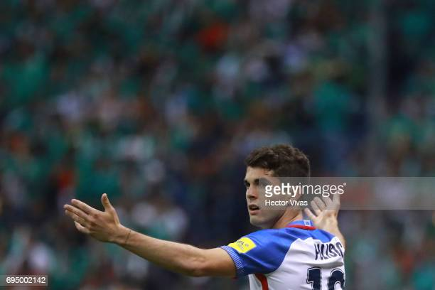 Christian Pulisic of US reacts during the match between Mexico and The United States as part of the FIFA 2018 World Cup Qualifiers at Azteca Stadium...