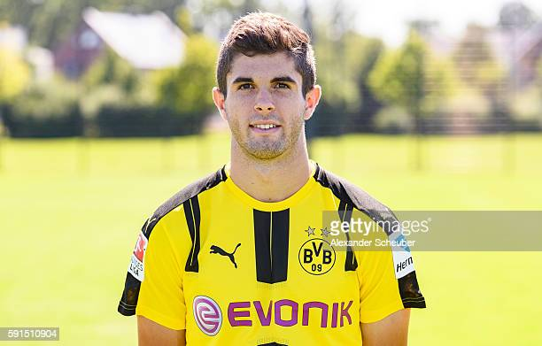 Christian Pulisic poses during the team presentation of Borussia Dortmund on August 17 2016 in Dortmund Germany