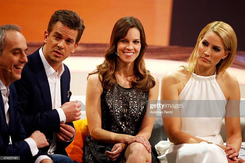 Christian Rach; Markus Lanz; Hilary Swank and Judith Rakers attend the 'Wetten, dass..?' TV Show from Dusseldorf at the ISS Dome on February 22, 2014 in Duesseldorf, Germany.