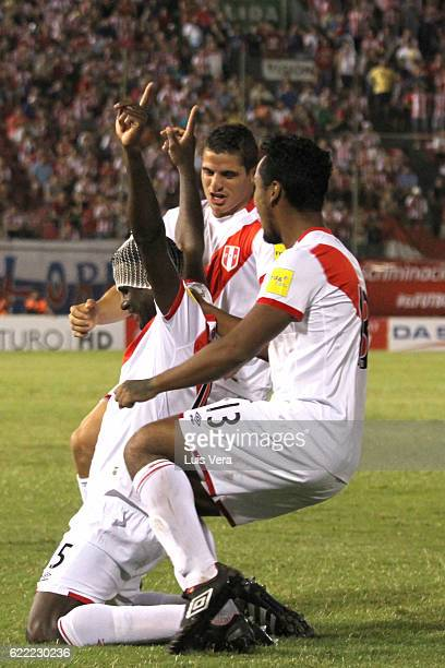 Christian Ramos of Peru celebrates after scoring the first goal of his team during a match between Paraguay and Peru as part of FIFA 2018 World Cup...