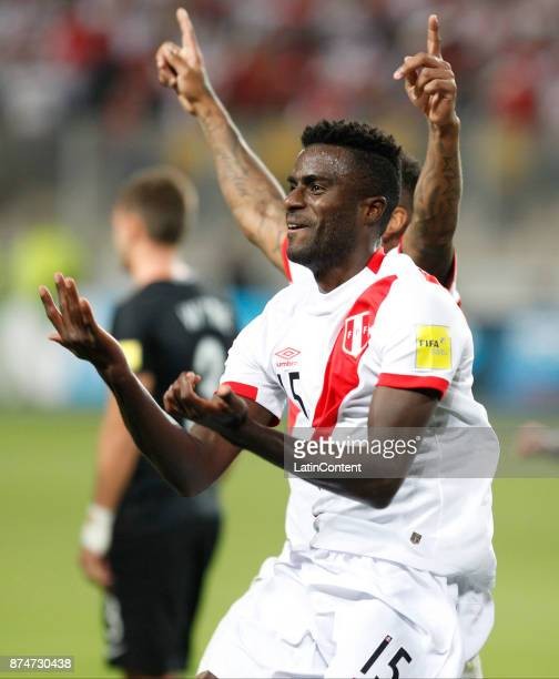 Christian Ramos of Peru celebrates after scoring the second goal of his team during a second leg match between Peru and New Zealand as part of the...