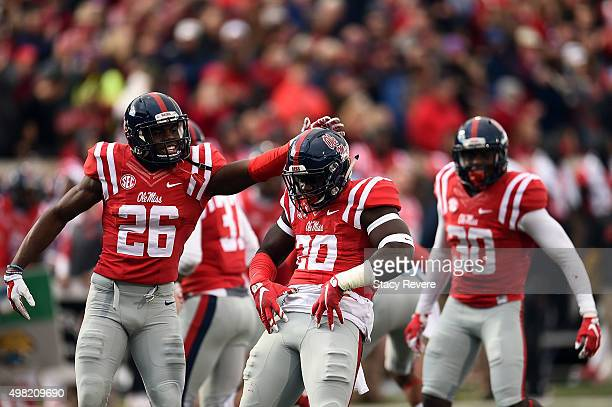 Christian Russell of the Mississippi Rebels reacts to a defensive stop during the second quarter of a game against the LSU Tigers at VaughtHemingway...