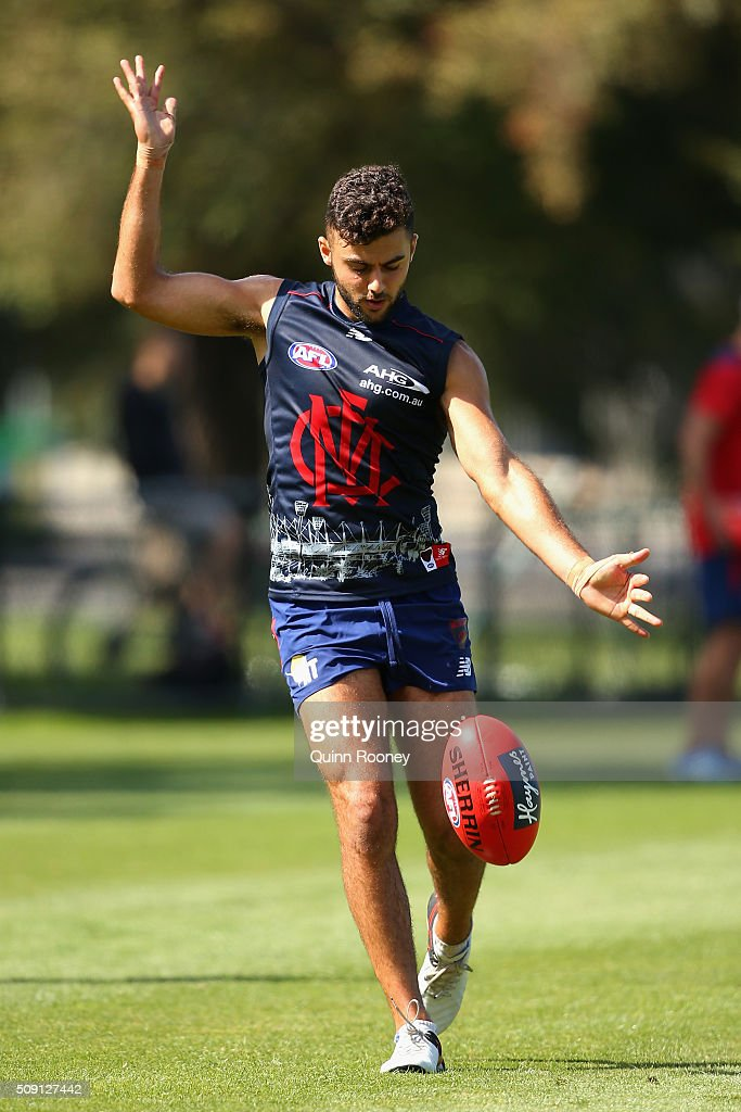 Christian Salem of the Demons kicks during a Melbourne Demons AFL pre-season training session at Gosch's Paddock on February 9, 2016 in Melbourne, Australia.