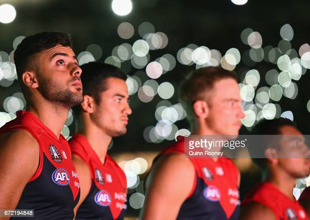 Christian Salem of the Demons stand for the last post during the round five AFL match between the Richmond Tigers and the Melbourne Demons at...