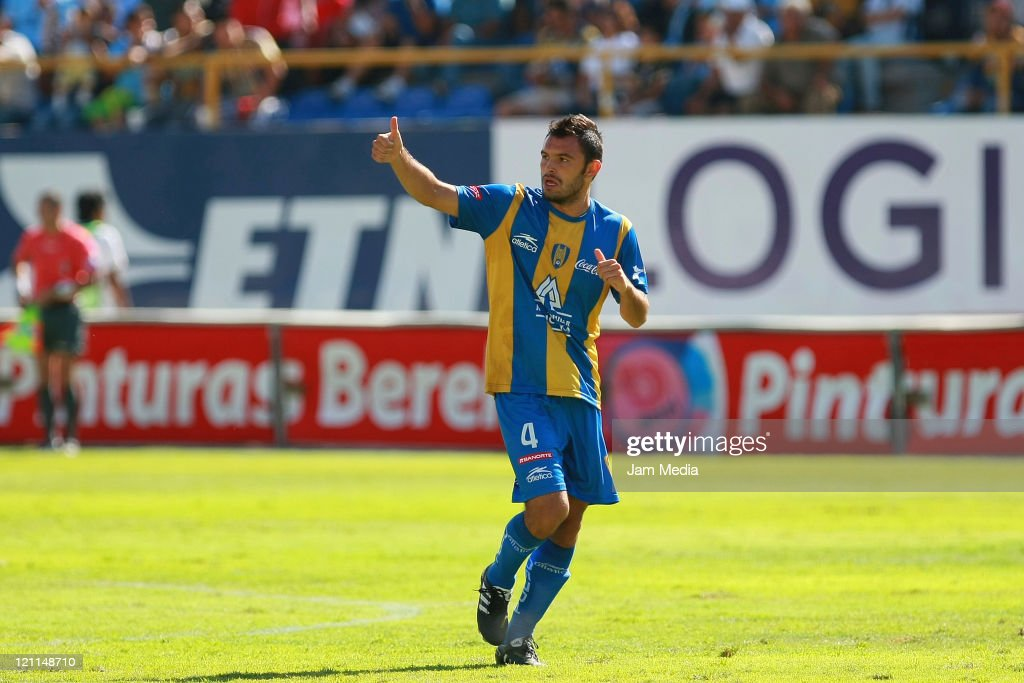 Christian Sanchez of San Luis celebrate a scored goal during a match as part of the Apertura 2011 at Alfonso Lastras Stadium on August 13 2011 in San...